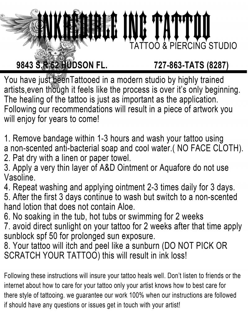 inkredible inc tattoos aftercare